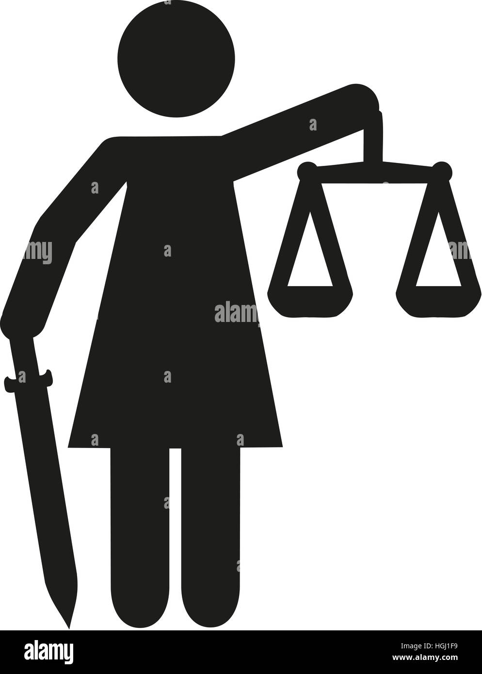 Justitia statue pictogram - Stock Image
