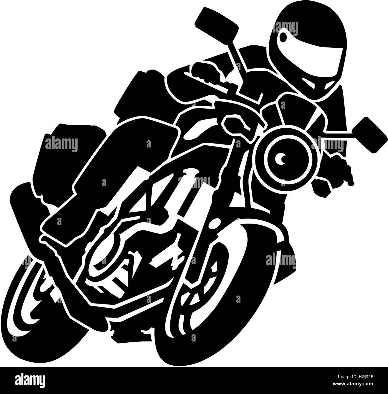 Biker on motorbike - Stock Image