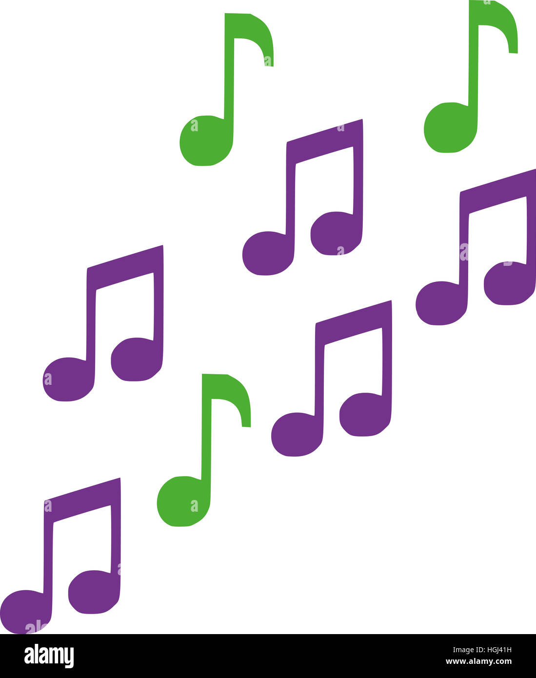 Green and lila music notes - Stock Image