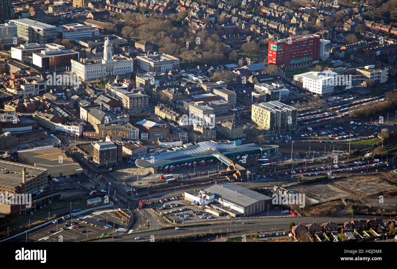 aerial view of Barnsley town centre with the Transport Interchange in foreground & Barnsley College back right, - Stock Image