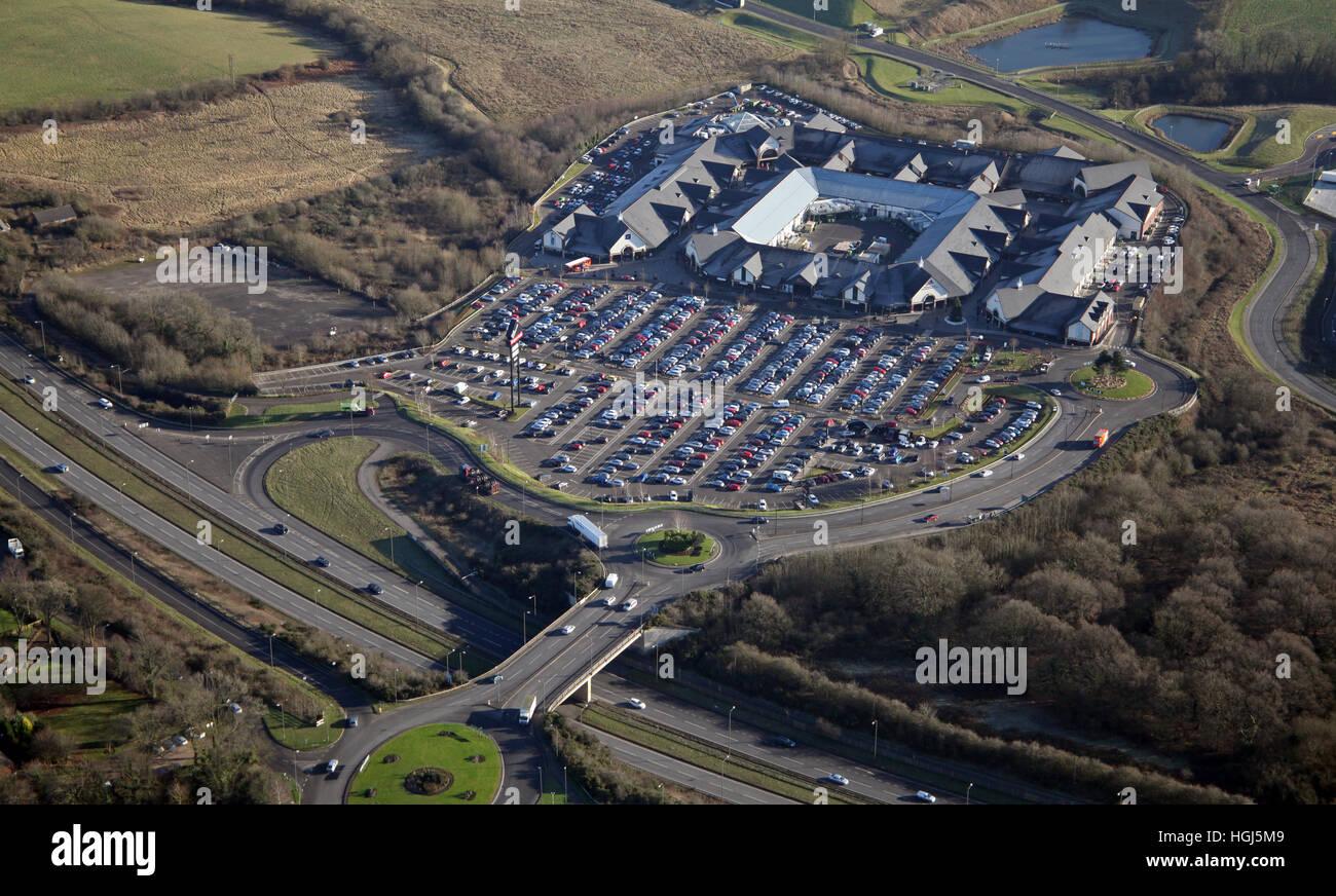 aerial view of The East Midlands Designer Outlet near Nottingham, UK - Stock Image
