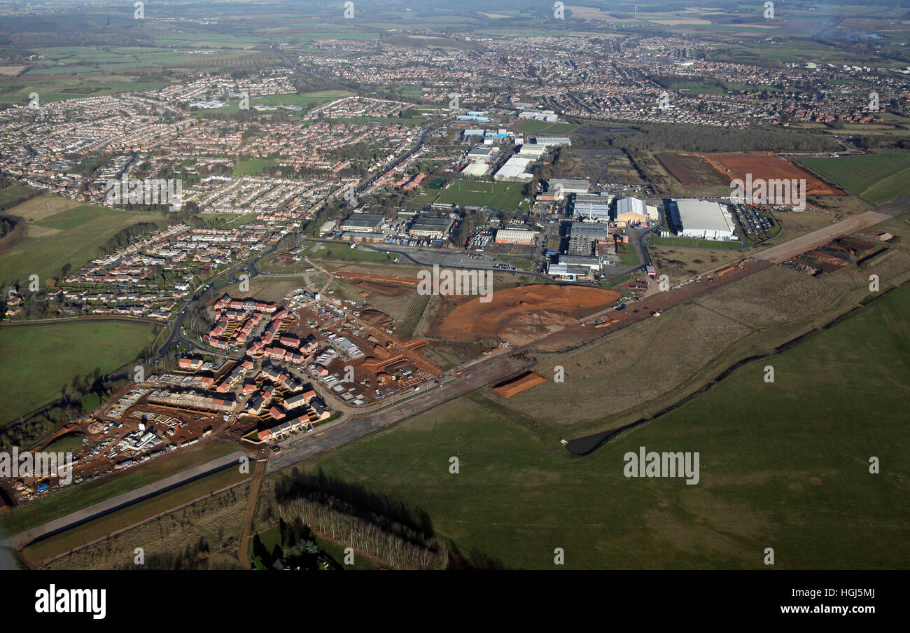 aerial view of the old airfield at Hucknall aerodrome, now being developed for housing, Nottinghamshire, UK - Stock Image