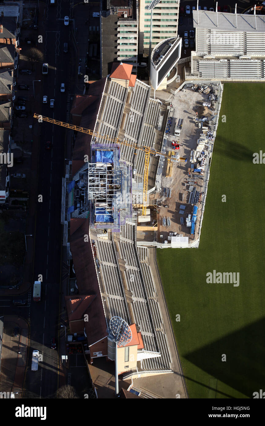 aerial view of construction work at the international test match venue of Trent Bridge cricket ground, Nottingham, - Stock Image