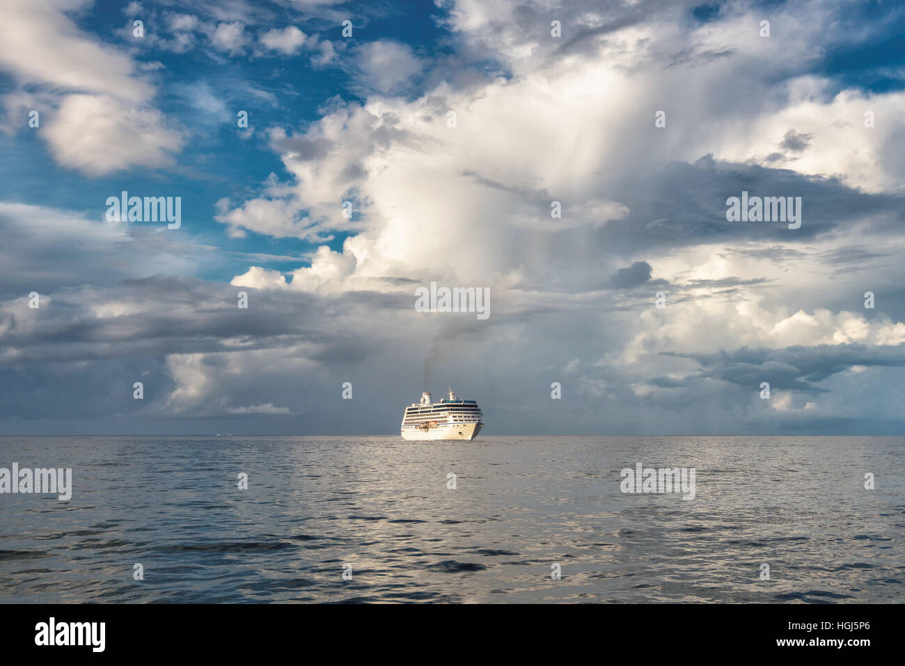 Cruise ship in the ocean - Stock Image