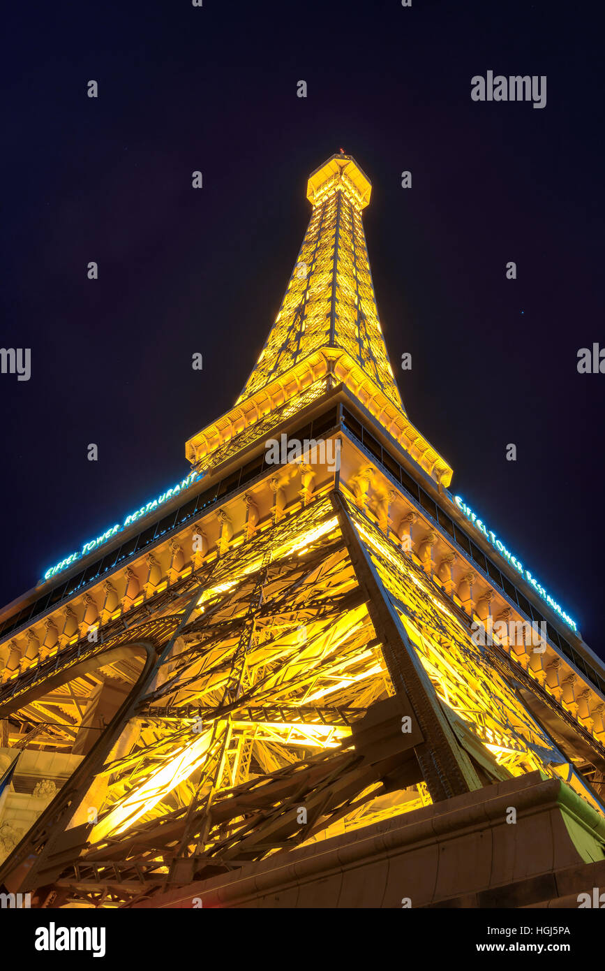 Eiffel tower of Paris Hotel in Las Vegas at night - Stock Image