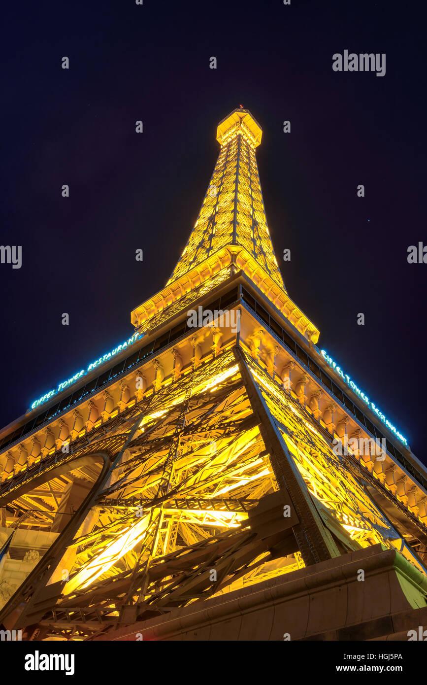 Eiffel tower of Paris Hotel in Las Vegas at night Stock Photo