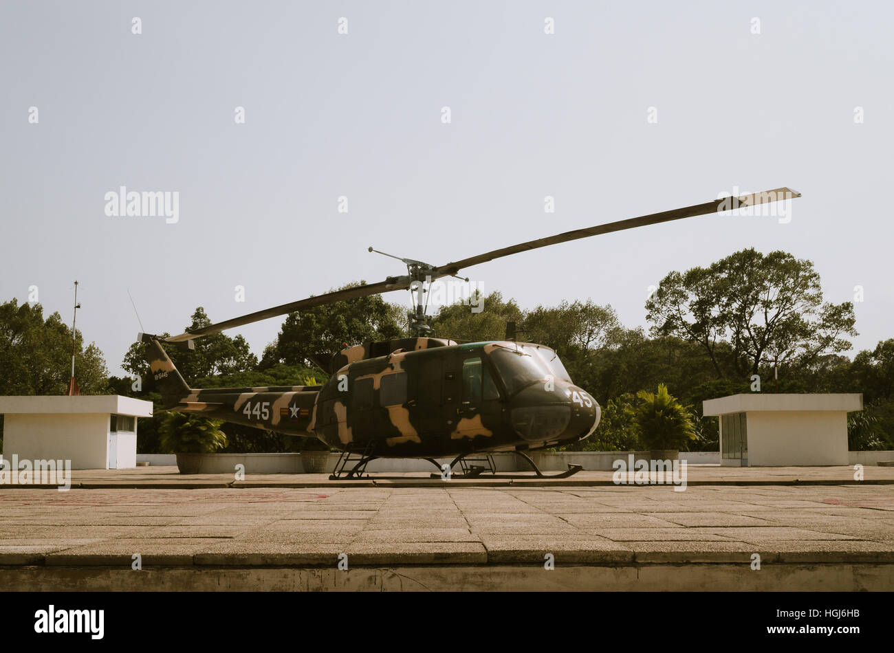 A Vietnam War era American military helicopter on display in