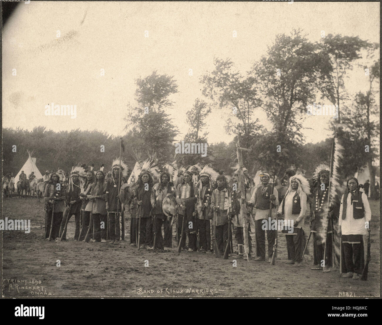 Band of Sioux Warriors   - 1898 Indian Congress - Photo : Frank A. Rinehart - Stock Image