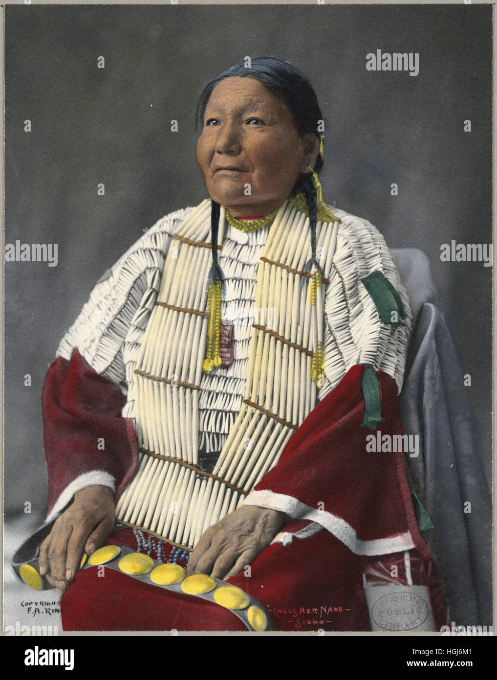 Calls Her Name, Sioux   - 1898 Indian Congress - Photo : Frank A. Rinehart - Stock Image