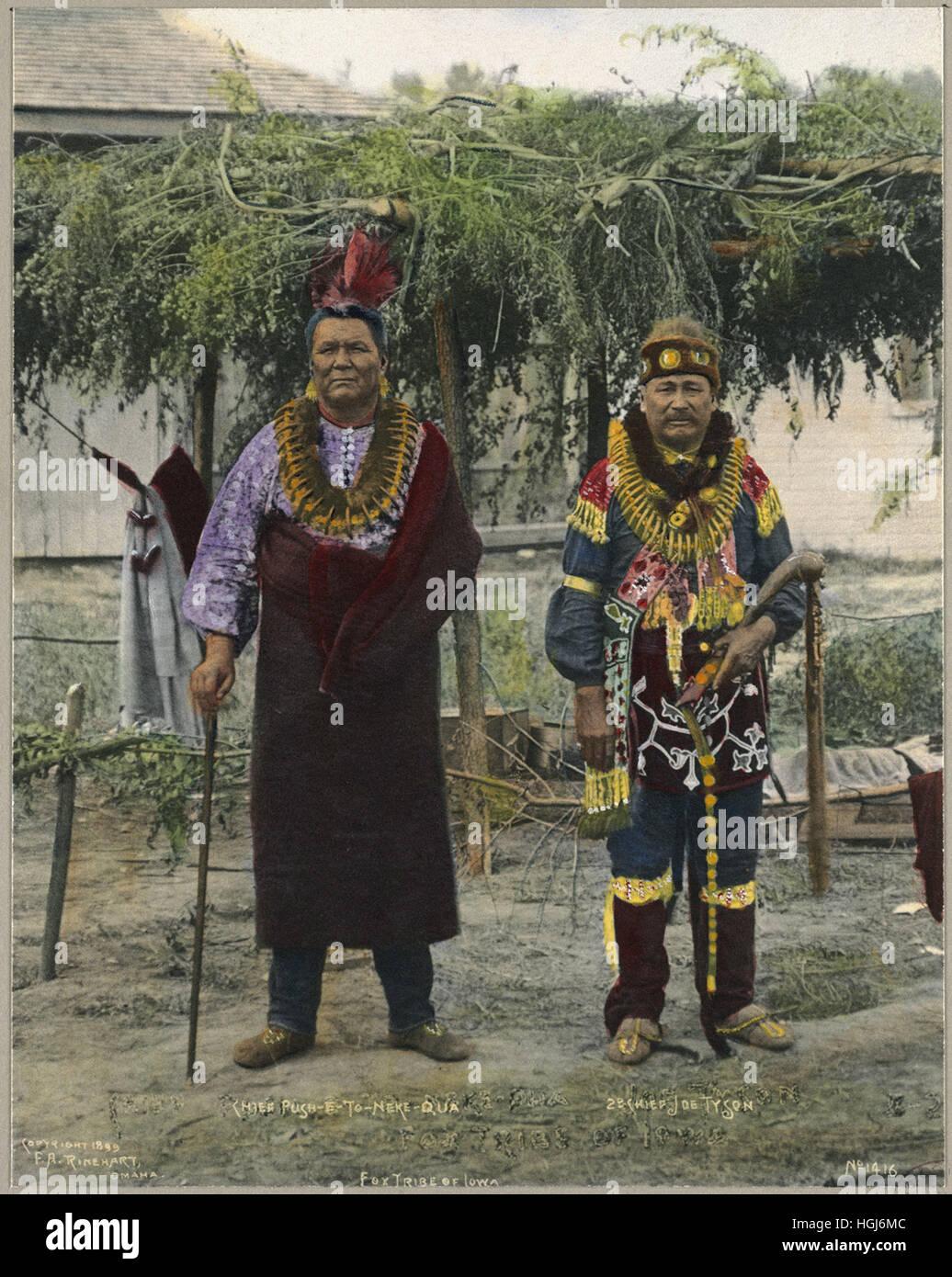 Chief Push-E-To-Neke-Qua, Chief Joe Tyson, Fox Tribe of Iowa   - 1898 Indian Congress - Photo : Frank A. Rinehart - Stock Image