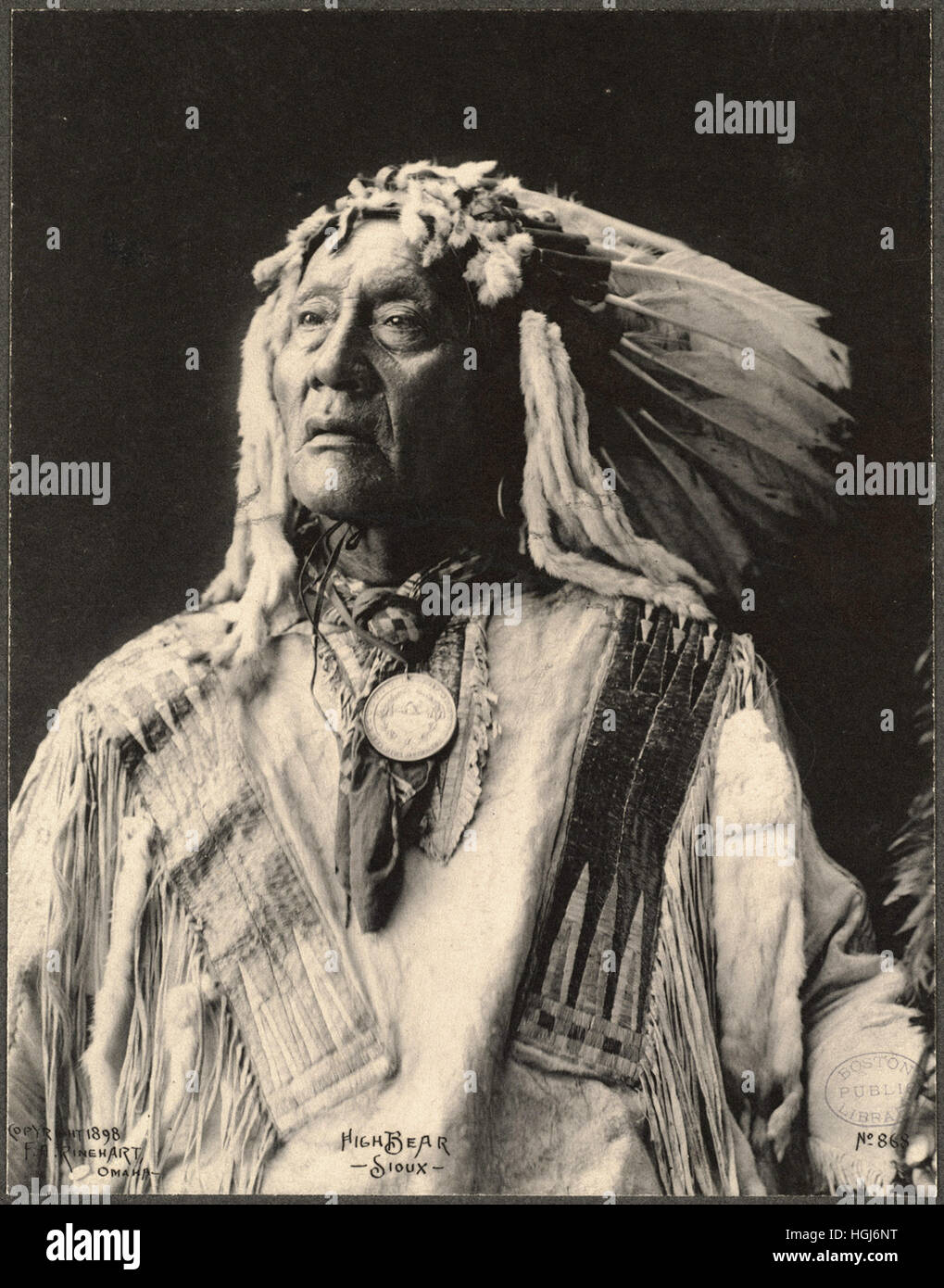 High Bear, Sioux   - 1898 Indian Congress - Photo : Frank A. Rinehart - Stock Image