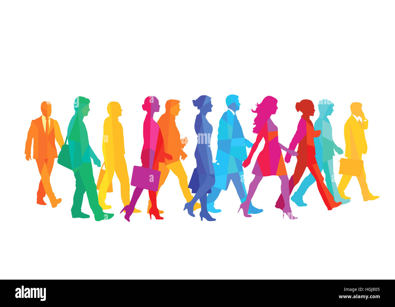 A group of people walking in the city. illustration - Stock Image