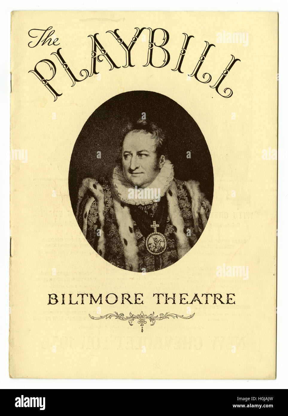 Antique 1935 theater program from the Biltmore Theatre, in New York City. - Stock Image