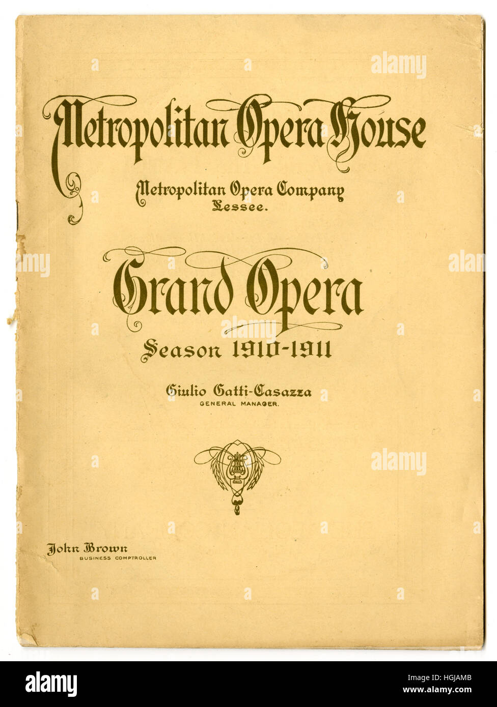 Antique theater program from the Metropolitan Opera House, week of January 23, 1911, in New York City. - Stock Image