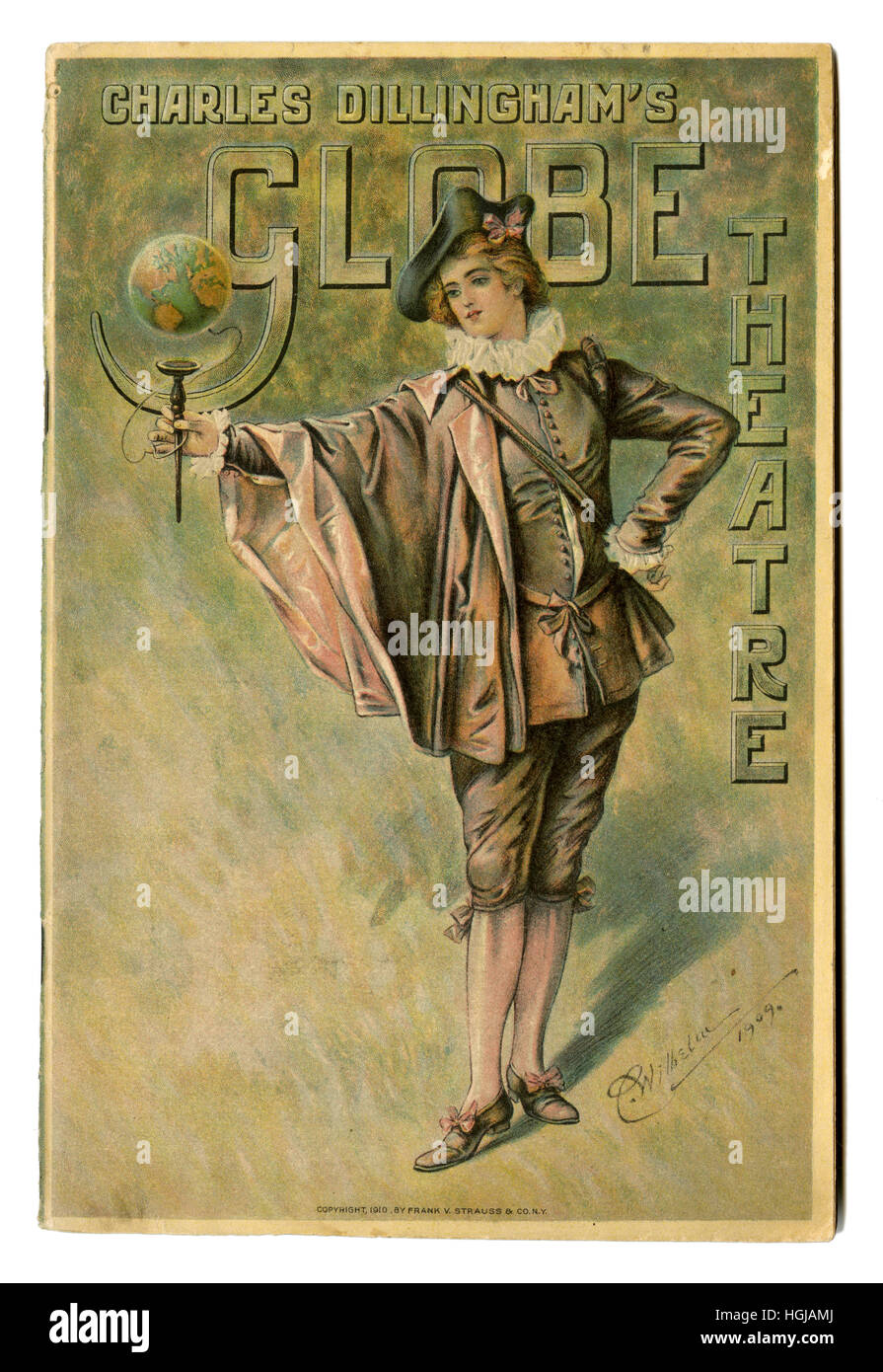 Antique theater program from Charles Dillingham's Globe Theater, week of December 12, 1910, on Broadway & - Stock Image