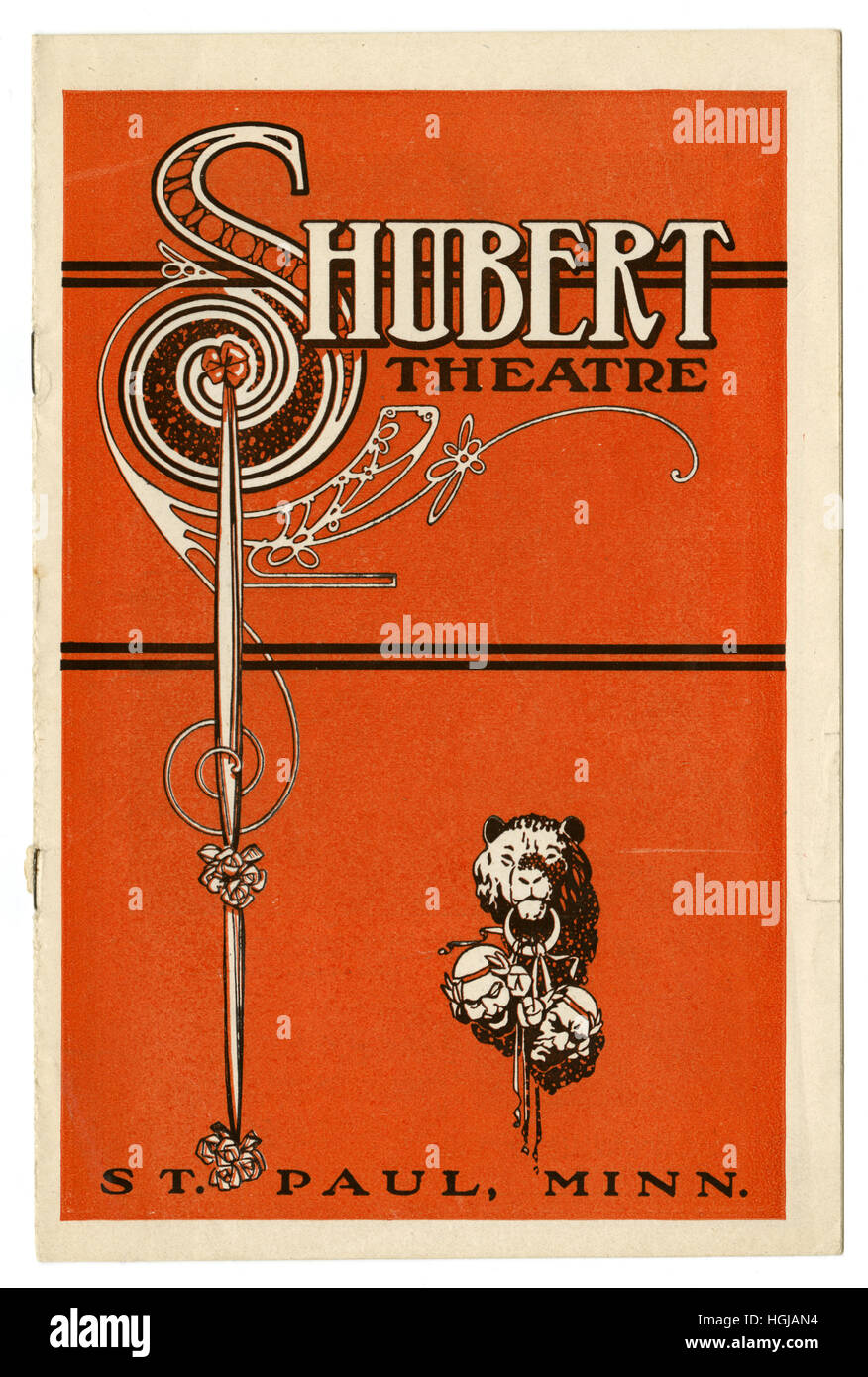 Antique 1914 theater program from Schubert Theatre in St. Paul, Minnesota. - Stock Image