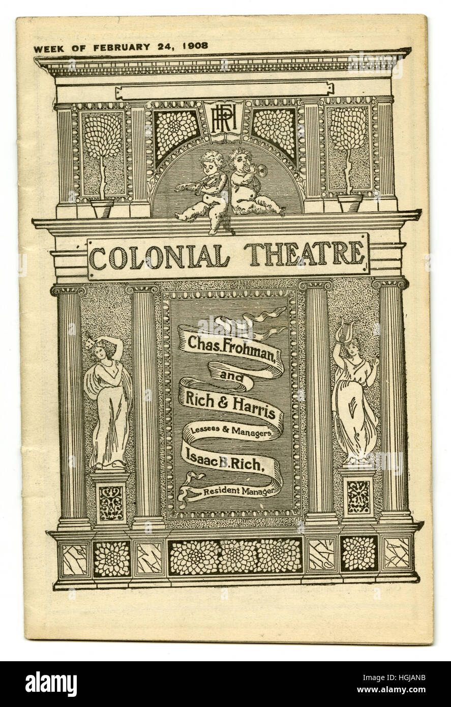 Antique theater program from Colonial Theatre, week of February 24, 1908, in Boston, Massachusetts. - Stock Image