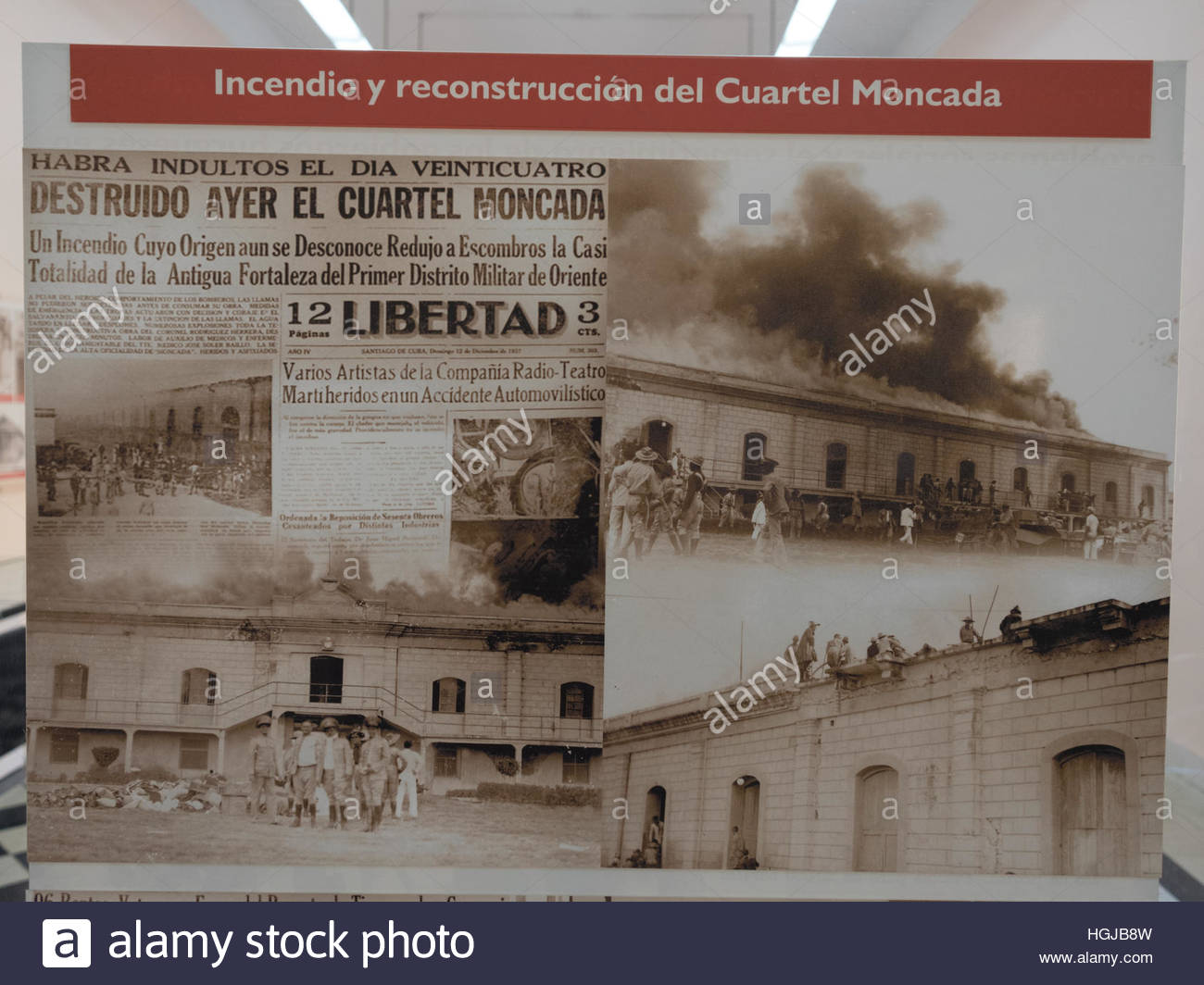Cuban history: Old newspaper showing Moncada barracks on fire and reconstruction process. - Stock Image