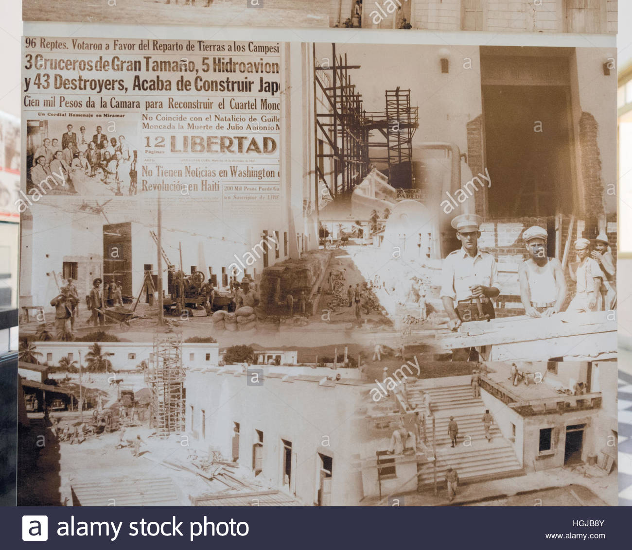 Cuban history: Old newspaper showing the reconstruction history of Moncada Military Barracks. - Stock Image
