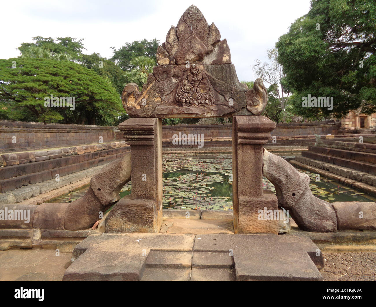 Impressive Ancient Arch of the Lotus Pond at Prasat Hin Muang Tam Temple, Buriram Province in Thailand - Stock Image