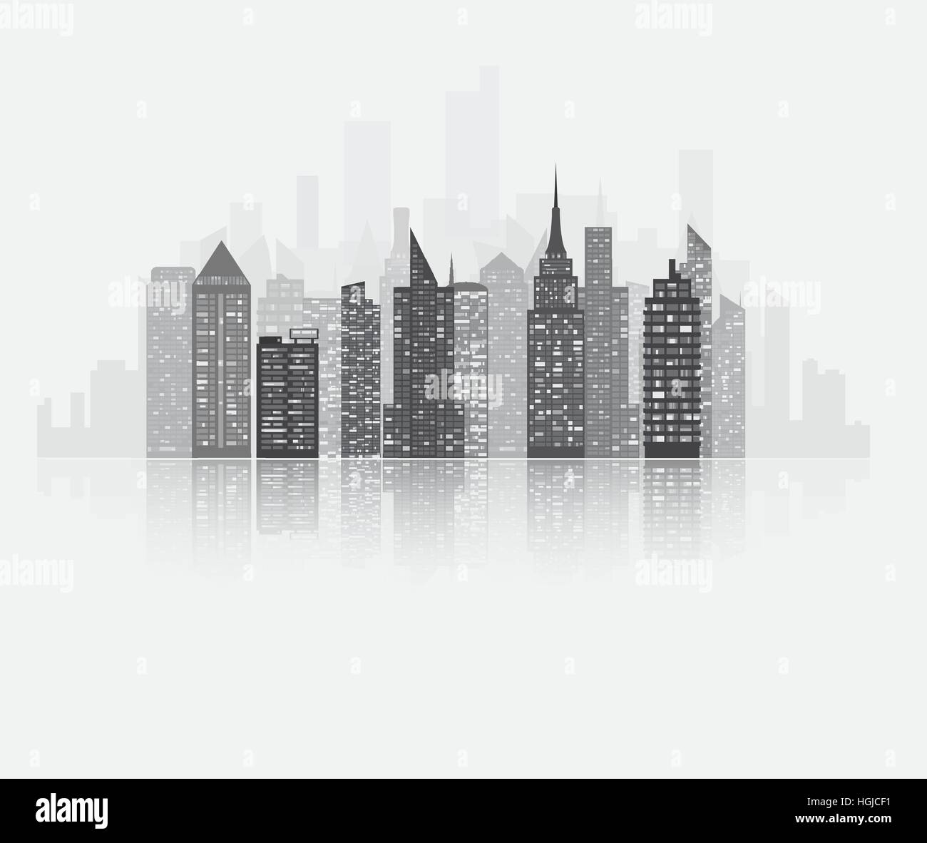 Realistic detailed urban view with skyscrapers. Plenty of bigg skyscrapers with many glowing in the night windows. - Stock Vector