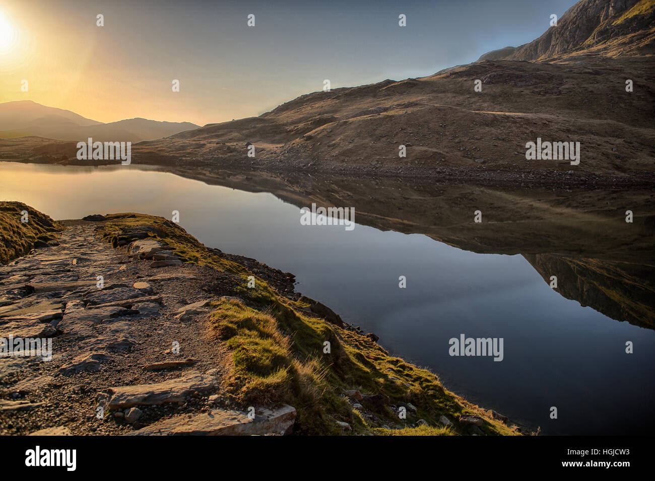 a bracketed exposure of Llyn Llydaw snowdonia national park. - Stock Image