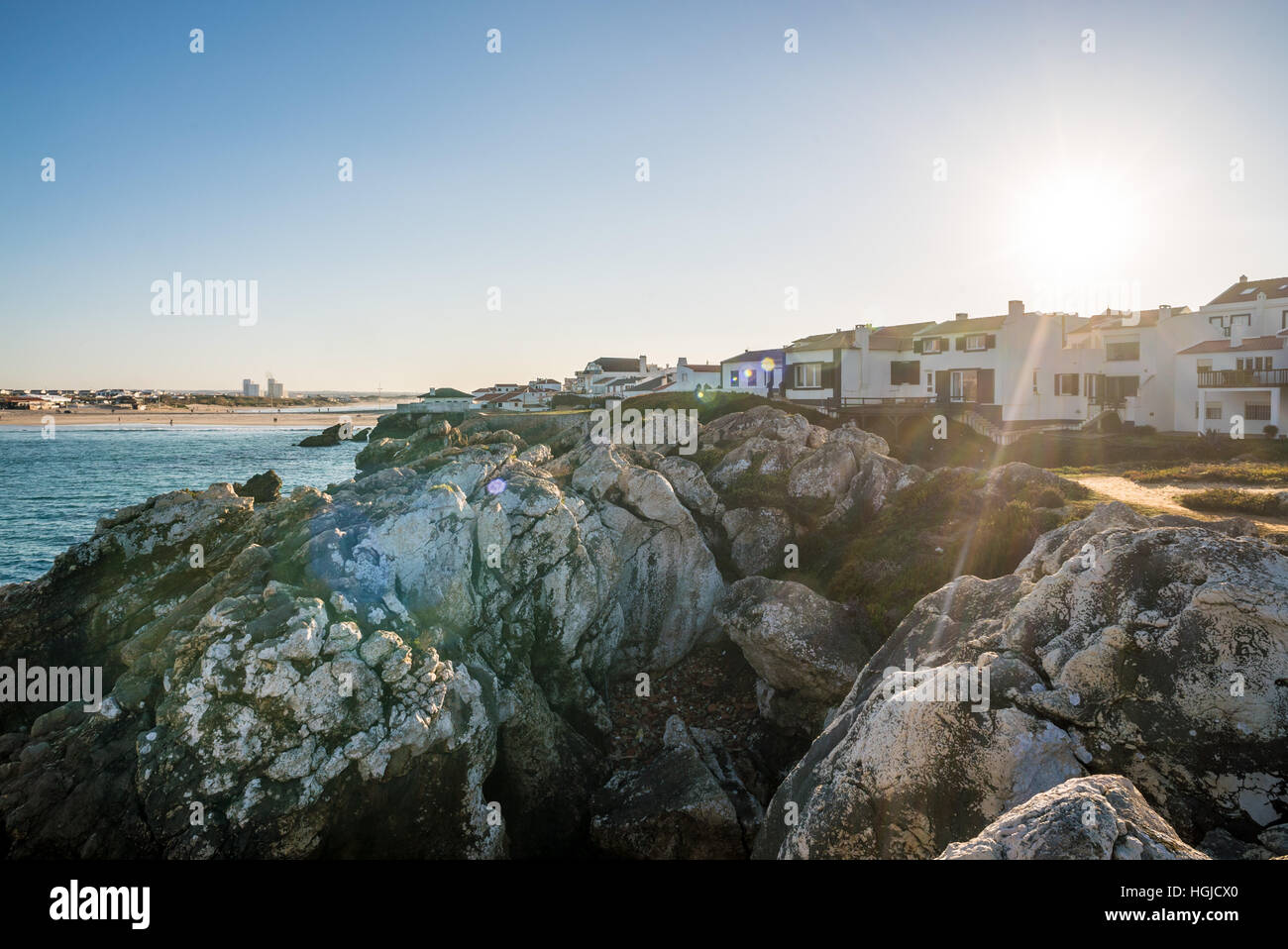 view of the houses on Baleal peninsula, Peniche, Portugal - Stock Image