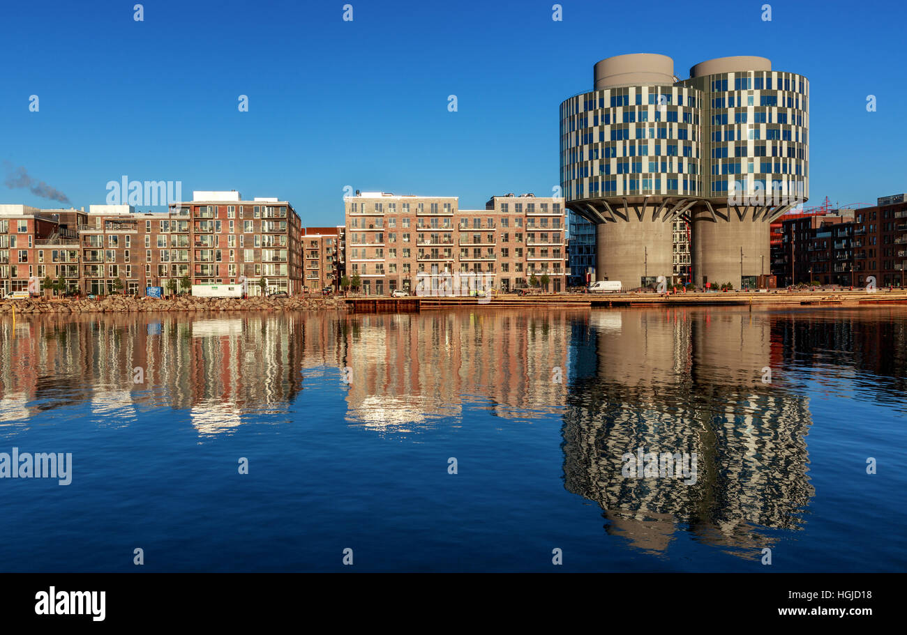 The exciting new attractive residential and office block quarter in Nordhavn, the north harbour in Copenhagen. Portland Stock Photo