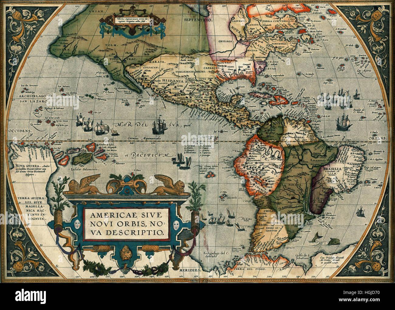 Map Of America 1587 Stock Photo: 130712596   Alamy