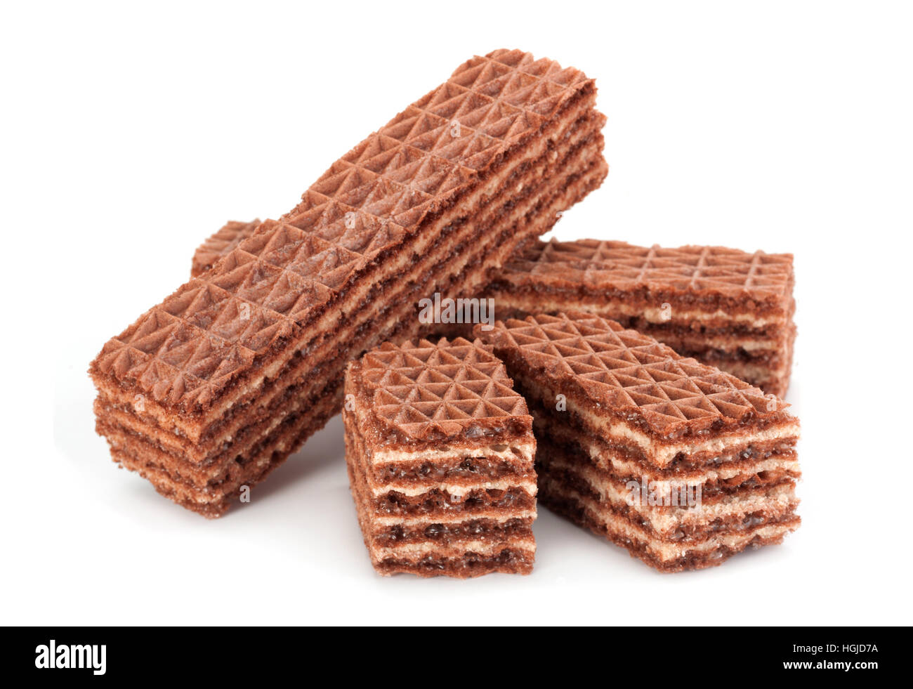 Brown wafer closeup isolated on white background - Stock Image