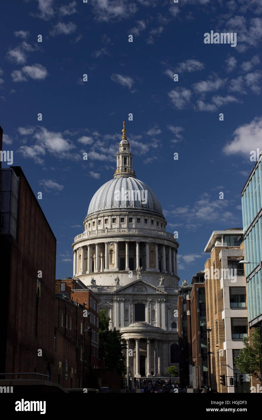 St Paul's Cathedral from the millennium bridge London.  St Paul's Cathedral was constructed on June 21 1675. - Stock Image