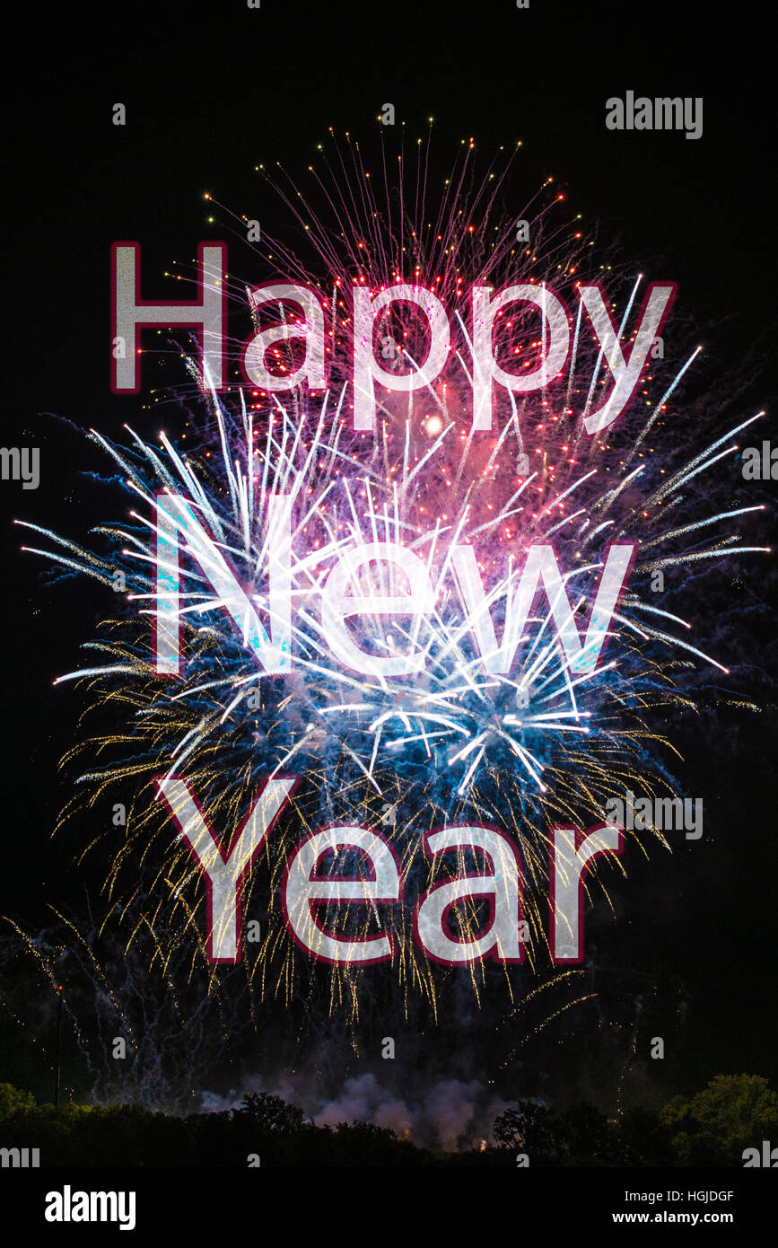 Happy New Year with fireworks - Stock Image