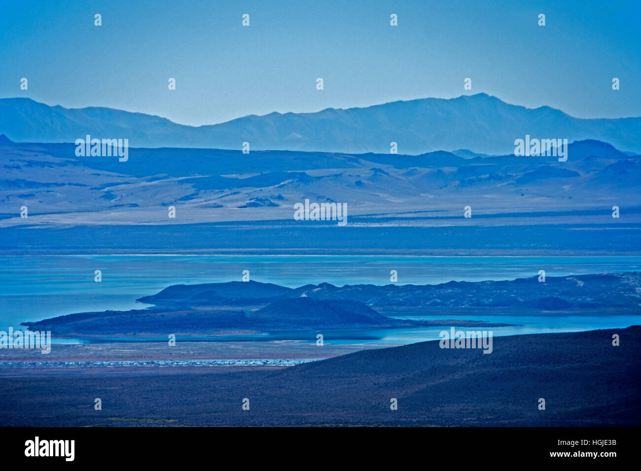 Mono Lake, a shallow saline soda lake, in California, during drought conditions. - Stock Image