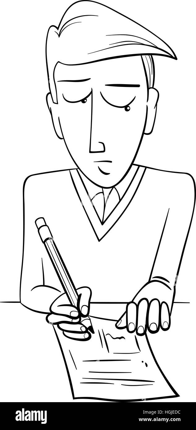 Black and White Cartoon Illustration of Teenage Boy Student Doing a ...