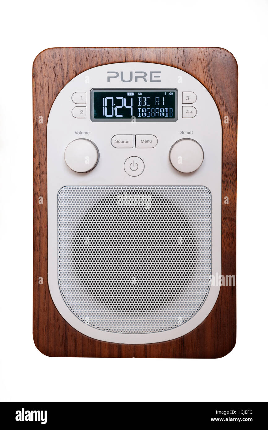 A Pure digital DAB radio on a white background - Stock Image