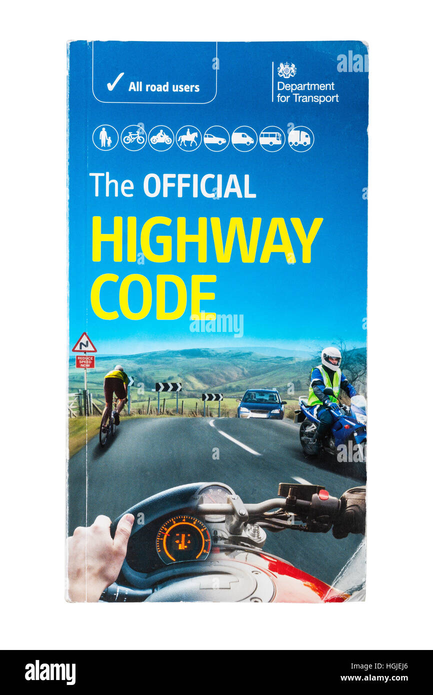 The Official Highway Code book on a white background - Stock Image