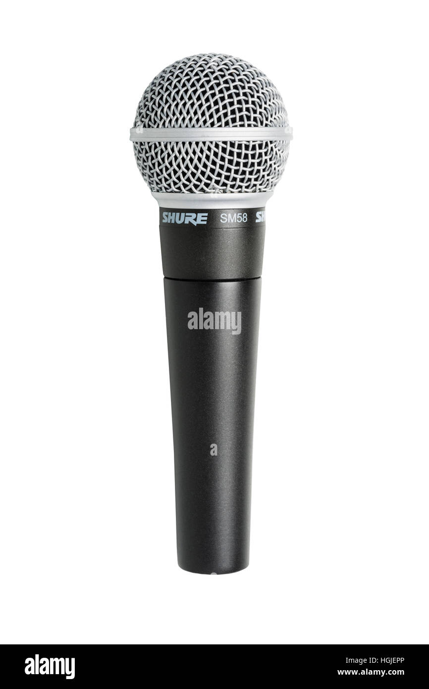 A Sure SM58 microphone on a white background - Stock Image