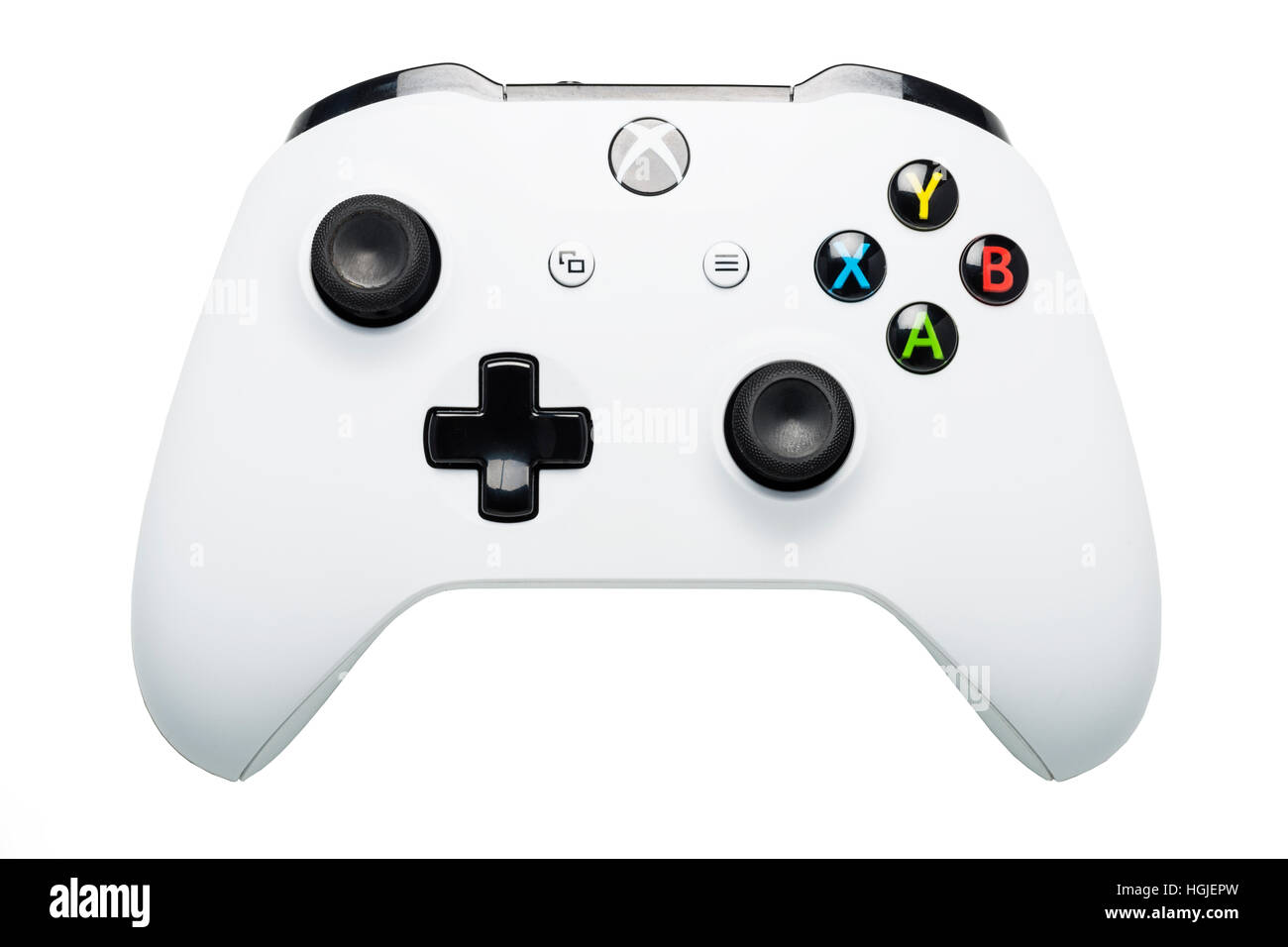 An XBOX ONE S games controller on a white background - Stock Image