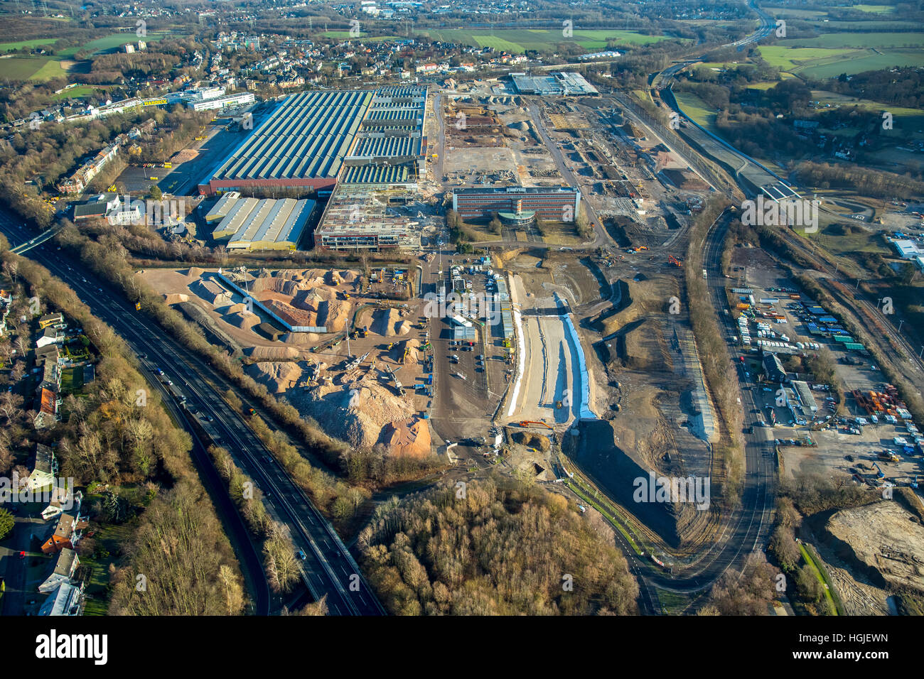 Aerial view, OPEL plant 1 Bochum, demolition of January 2017 Bochum, Ruhr area, North Rhine-Westphalia, Germany, - Stock Image