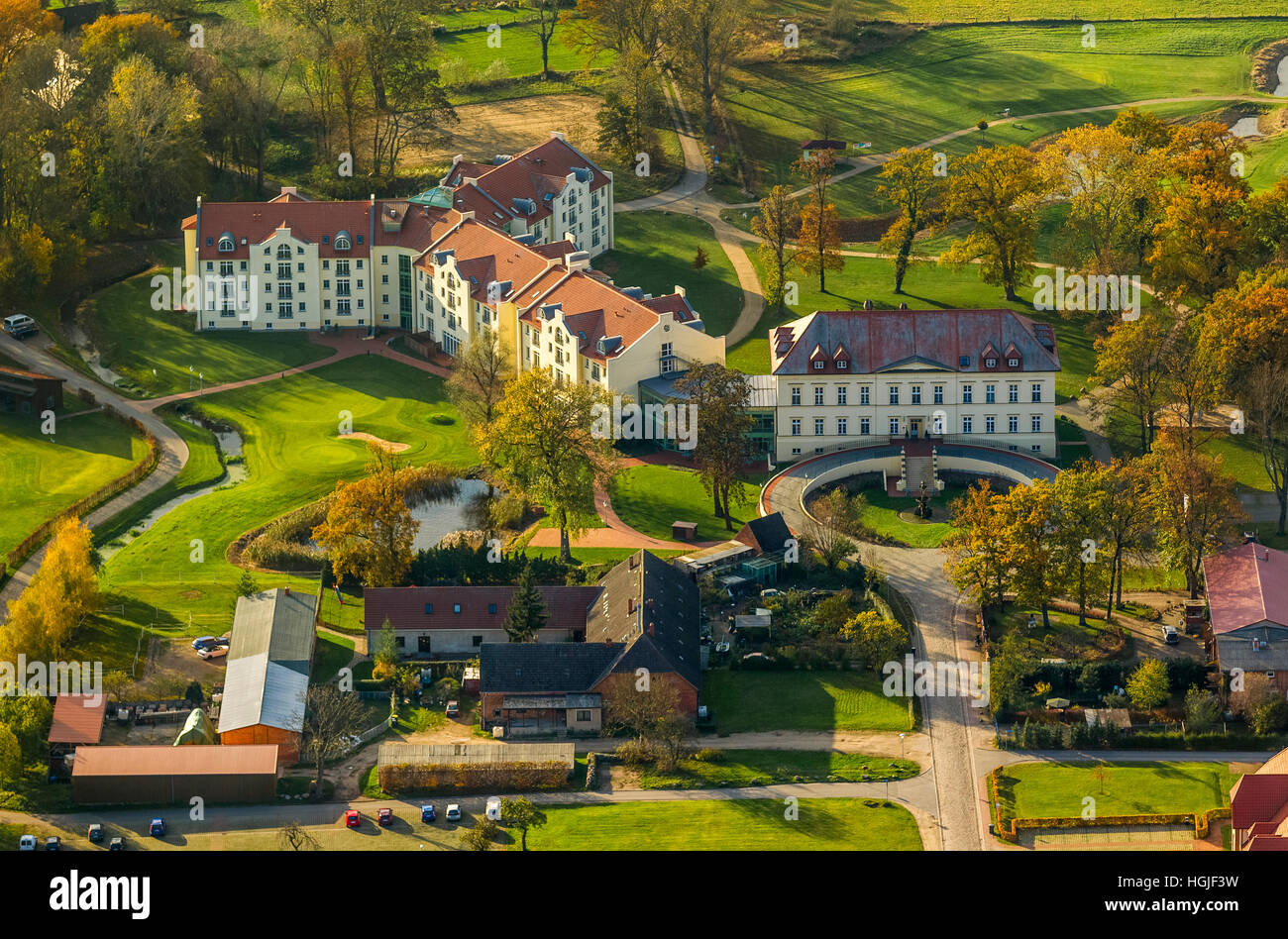 Aerial view, Country hotel castle,Schloss Teschow, Teterow, Mecklenburg Lake District, Mecklenburg-Western Pomerania, - Stock Image
