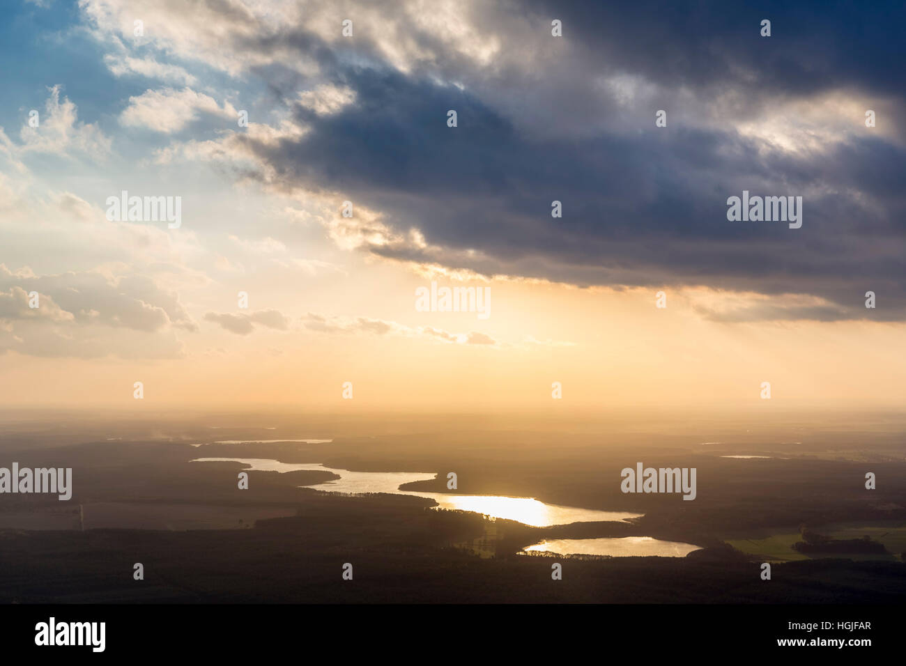 Aerial view, seascape, in evening backlight shines the Zirtowsee and Rätzsee and Peetschsee, Wesenberg,Mecklenburg - Stock Image