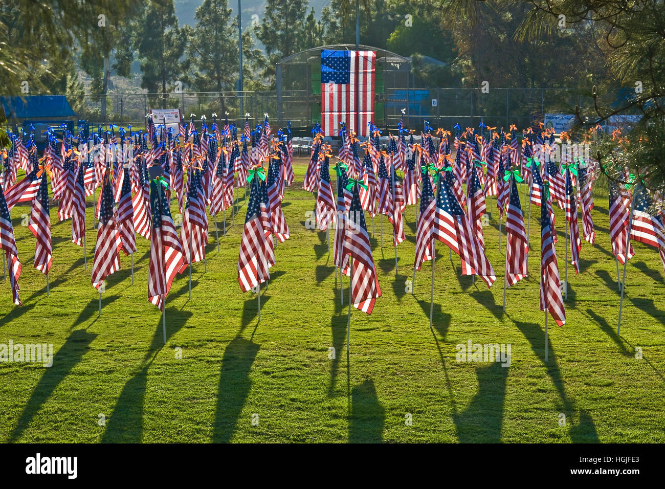 Rancho Bernardo Healing Field is created with 1,100 3-foot-by-5-foot American flags on 8-foot poles. The flags represent - Stock Image