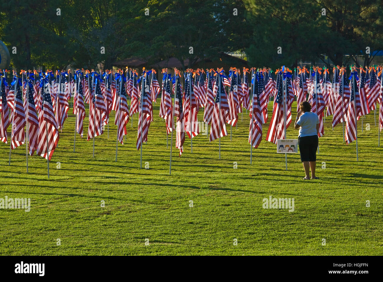 Woman on cell phone views the Rancho Bernardo Healing Field, created with 1,100 3-foot-by-5-foot American flags - Stock Image