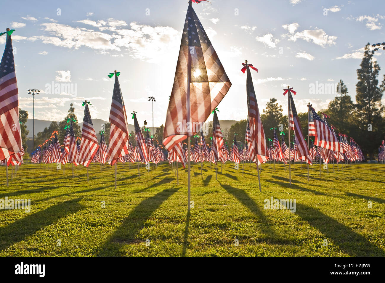 1,100 3-foot-by-5-foot American flags  on 8-foot poles. - Stock Image
