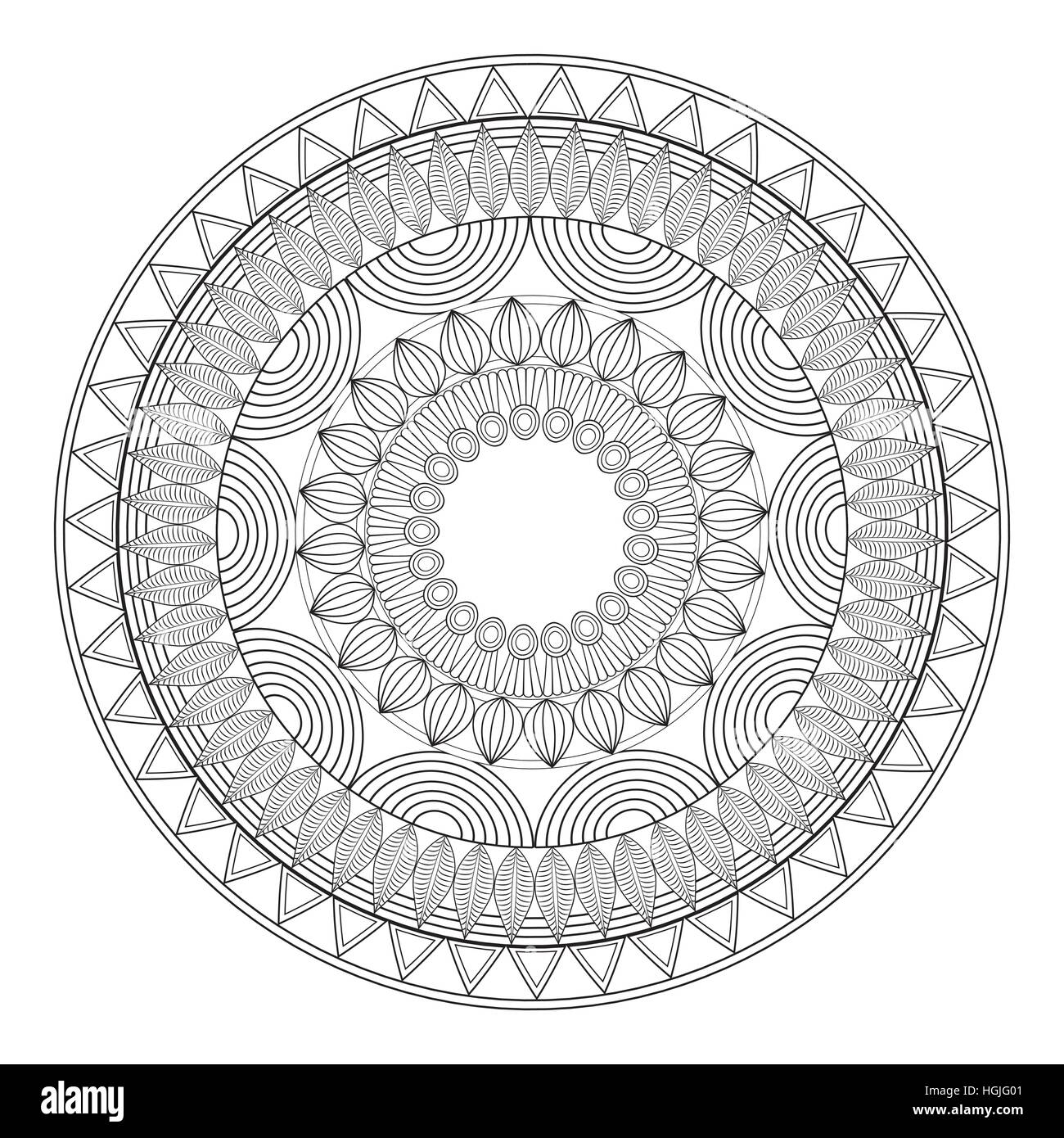 mandala mystical scheme outline - Stock Image