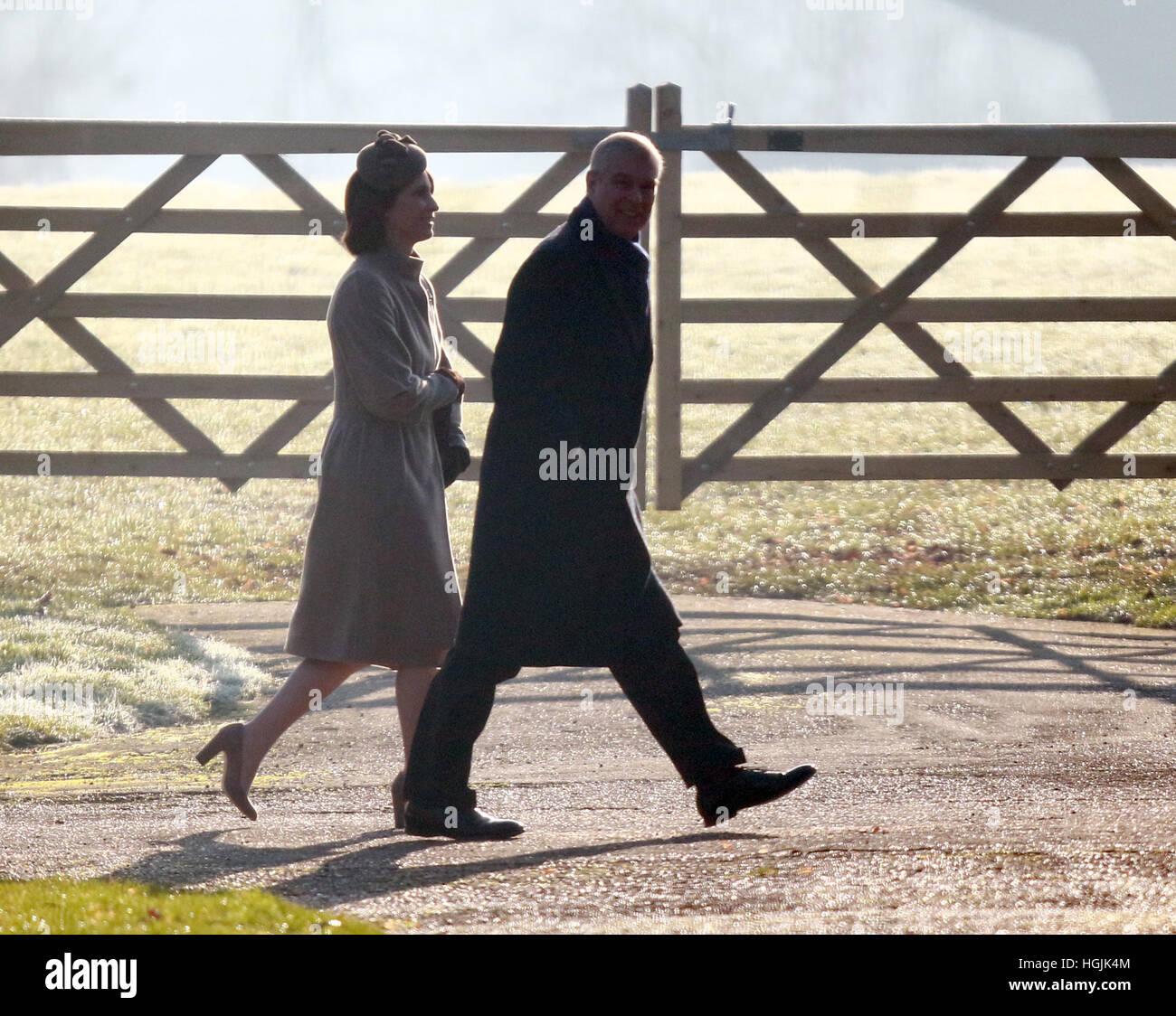 Sandringham, Norfolk, UK. 22nd January, 2017. HM Queen Elizabeth II attending Church at Sandringham . . Sandringham, - Stock Image