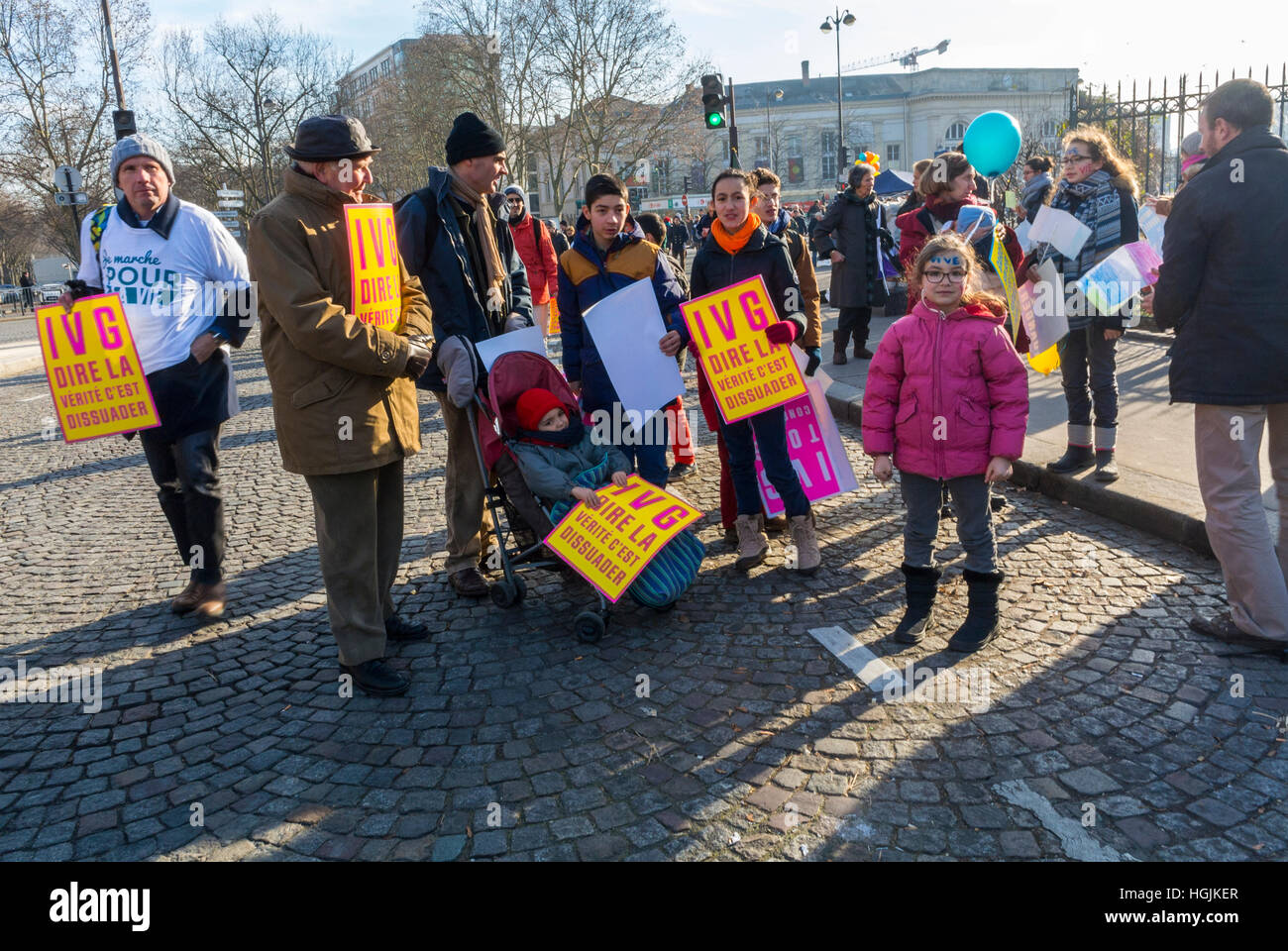 Crowd of French People, Marching in Protest Against Legal Abortion, 'Marche Pour la Vie' Protests     'Tens - Stock Image