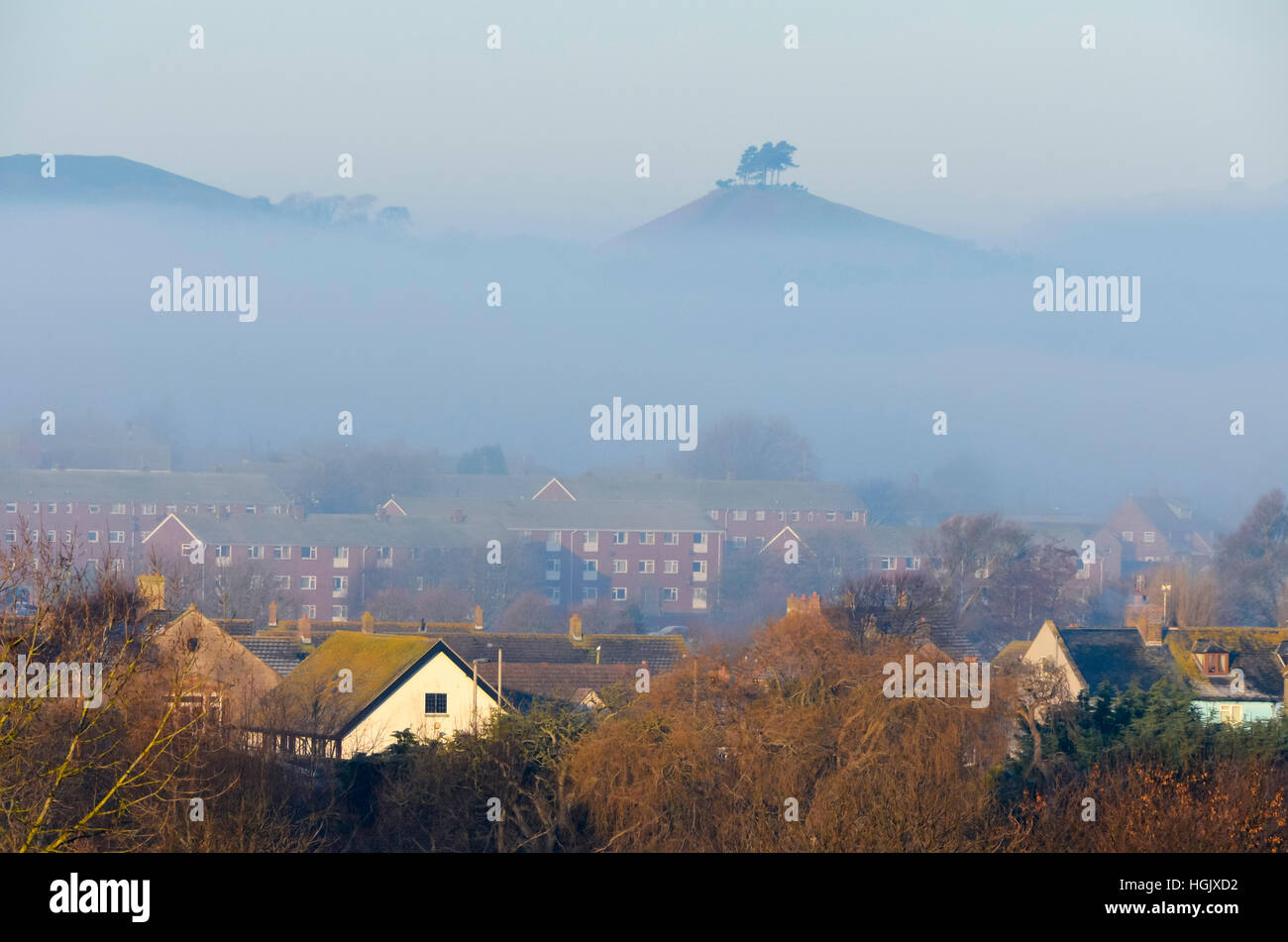 Bridport, Dorset, UK. 23rd Jan, 2017. UK Weather. The peak of Colmers Hill poking above the fog bank to the west Stock Photo