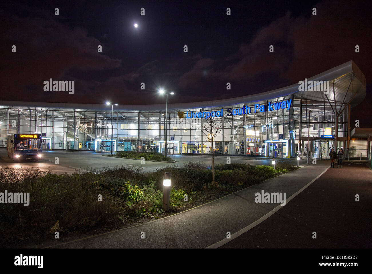 Liverpool South Parkway bus railway station interchange Garston. Merseyside. Airport link. Nightime Night - Stock Image