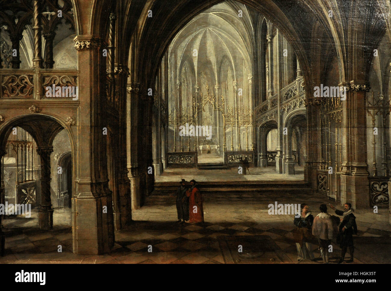 Paul Vredeman de Vries (1567-1630). Interior of a Gothic Church. Flanders, end of 16th C. Oil on wood. National - Stock Image